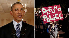 'Yes we can't?' Obama scorched after denouncing 'defund the police' as just a 'snappy' slogan that alienates voters