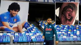 Goal scoring art: Italian tattoo ace inks likeness of Maradona onto leg of 'best captain in the world' at legend's ex-club (VIDEO)