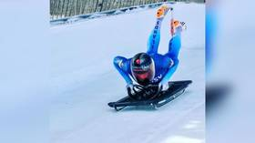 Skeleton racer hits BROOM left on track during World Cup run (VIDEO)