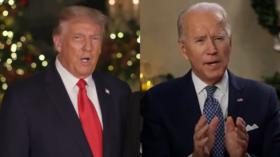 Medienhämmer Trump ... für die Übermittlung der gleichen Weihnachtsbotschaft als Biden