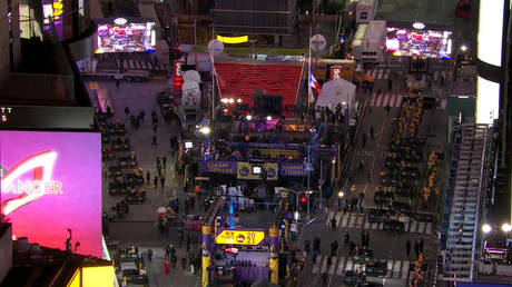 A near-empty Times Square is seen following a ban on crowds for its New Year's Eve celebration, December 31, 2020.