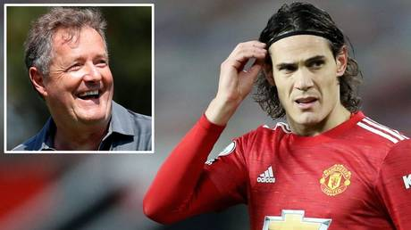 Support: Piers Morgan (inset) says Edinson Cavani has been harshly treated by the English FA