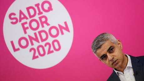 London Mayor Sadiq Khan is shown at a campaign rally last March.