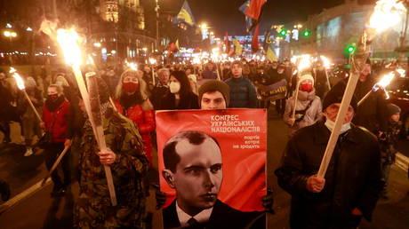 A rally to mark the 112th birth anniversary of Nazi collaborator Stepan Bandera in Kiev. © Reuters / Valentyn Ogirenko