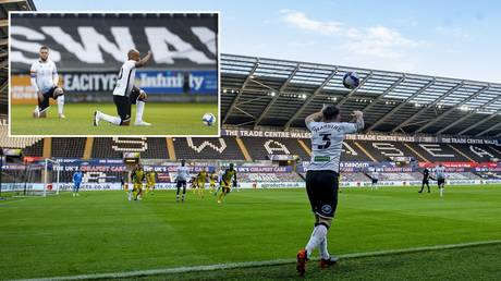 Fan protests were avoided outside the stadium as Swansea played Watford. © Athena Pictures / Getty Images / Reuters