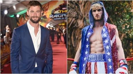 Hollywood hunk Hemsworth was called out by YouTuber Logan Paul. © Getty Images via AFP / Instagram @loganpaul