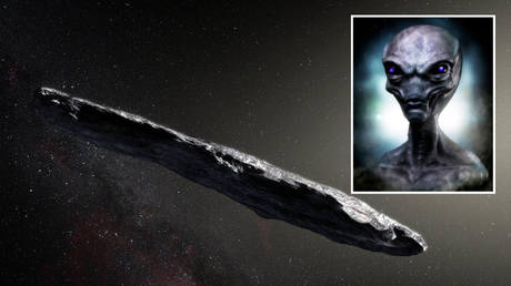 Artist's concept of interstellar object 'Oumuamua) as it passed through the solar system. © European Southern Observatory / M. Kornmesser; inset: Pixabay