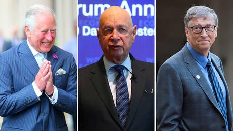 Prince Charles (L), Klaus Schwab (C) and Bill Gates (R) © AFP / Chris Jackson and Reuters / Denis Balibouse and Ian Langsdon