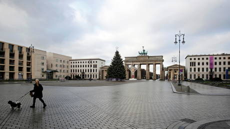 FILE PHOTO: A view of Brandenburg Gate on the first day of a nationwide lockdown amid the coronavirus disease (COVID-19) pandemic in Berlin, Germany