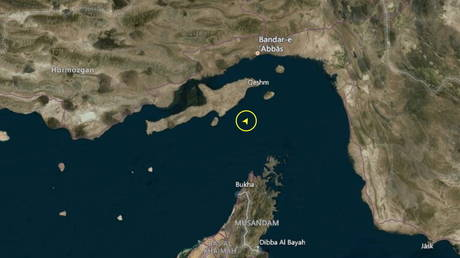 A screenshot taken January 4, 2021 © from Refinitiv Eikon shows the location of a South Korean-flagged tanker seized by Iran's Revolutionary Guards Corps in Gulf. REFINITIV EIKON via REUTERS