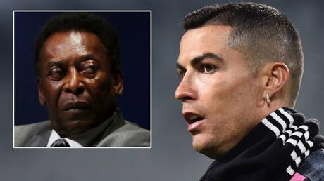 Brazil football legend Pele (left) changed his Instagram bio after Cristiano Ronaldo broke his goals record © Paulo Whitaker / Reuters | © Massimo Pinca / Reuters