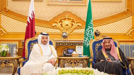 FILE PHOTO: Saudi King Salman bin Abdulaziz meets with Qatari PM Sheikh Abdullah bin Nasser bin Khalifa Al Thani in Riyadh, December 10, 2019.