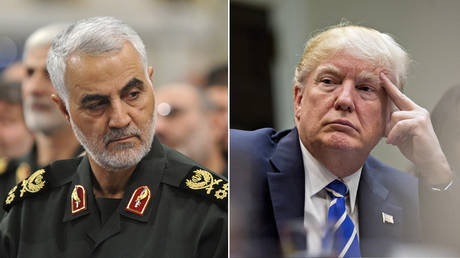 (L) Qasem Soleimani © Getty Images / Anadolu Agency / Press Office of Iranian Supreme Leader; (R) Donald Trump © Getty Images / Andrew Harrer-Pool