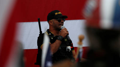 FILE PHOTO: Proud Boys chairman Enrique Tarrio speaks at a rally in Portland, Oregon.