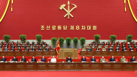 North Korean leader Kim Jong Un attends the first day of the 8th Congress of the Workers' Party in Pyongyang, North Korea, in this photo supplied by North Korea's Central News Agency (KCNA) on January 6, 2021.