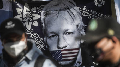 Activists hold a flag depicting Julian Assange at a protest outside the British embassy in Mexico City, Mexico, January 4, 2021. © Pedro Pardo / AFP