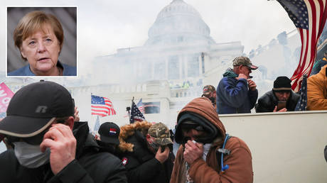 Supporters of US President Donald Trump cover their faces to protect from tear gas during a clash with police officers in front of the Capitol Building in Washington, U.S. © REUTERS / Leah Millis; (inset) Angela Merkel © John Thys / Pool via REUTERS