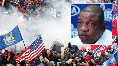 NBA coach Doc Rivers has spoken of the Capitol Hill riots at the Senate by supporters of Donald Trump © Shannon Stapleton / Reuters | © Kirby Lee / USA Today Sports via Reuters