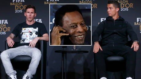 Pele (center) has spoken about his claim to have scored far more than Cristiano Ronaldo (right) and Lionel Messi © Arnd Wiegmann / Reuters | © Christian Hartmann / Reuters