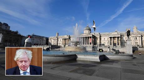 Trafalgar Square is seen amidst a COVID-19 pandemic lockdown in London © REUTERS/Toby Melville; inset © Pool via REUTERS / Tolga Akmen