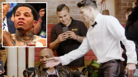 Gervonta Davis (inset) and Ryan Garcia clashed during an episode of Mike Tyson's Hotboxin' podcast
