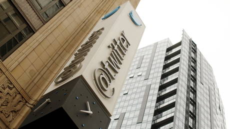 FILE PHOTO: The Twitter logo is shown at its corporate headquarters in San Francisco, California.