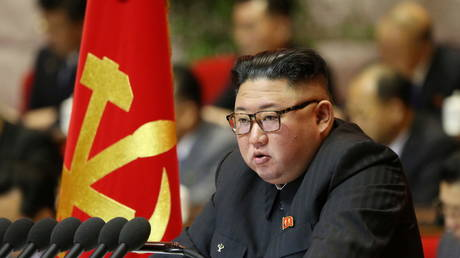 North Korean leader Kim Jong-un attends the first day of the 8th Congress of the Workers' Party in Pyongyang, North Korea, January 6, 2021.