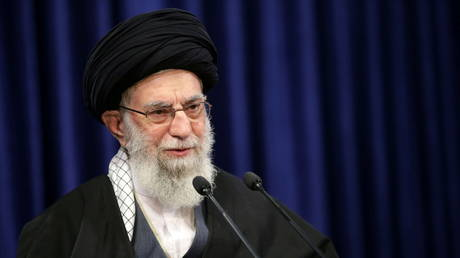 Iran's Supreme Leader Ayatollah Ali Khamenei delivers a televised speech, in Tehran, Iran on January 8, 2021.