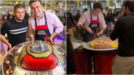 Khabib and his team enjoyed a Dubai feast. © Instagram @khabib_nurmagomedov / @shamilzavurov