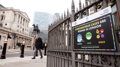 An NHS sign is displayed outside the Bank of England in the financial district, in London, Britain, January 8, 2021.