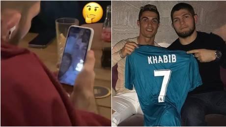 Khabib was seen holding a video call with Ronaldo. © Instagram @islam_makhachev
