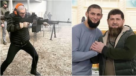 Chimaev showed off his shooting skills in Chechnya after meeting local leader Kadyrov. © Instagram @khamzat_chimaev