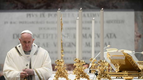 Pope Francis conducts a Mass for the Feast of Epiphany in St. Peter's Basilica this week. © Vatican Media/Handout via REUTERS