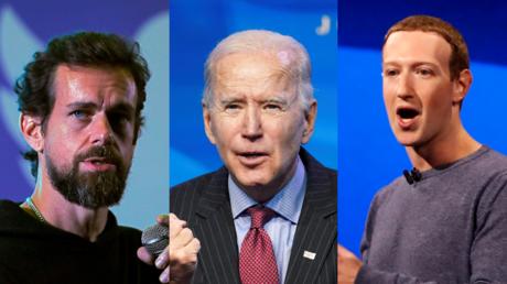 Le PDG de Twitter, Jack Dorsey (à gauche), le président élu Joe Biden (C), et le PDG de Facebook, Mark Zuckerberg (à droite) © Reuters / Anushree Fadnavis, Kevin Lamarque et Stephen Lam