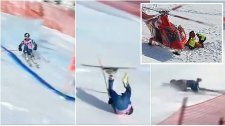 There were worrying scenes after skier Tommy Ford crashed in the giant slalom event. © Twitter @Atlantide4world / AFP