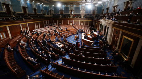 The House Chamber is seen during a joint session of Congress to count the Electoral College votes from the 2020 presidential election on Wednesday, January 6, 2021.