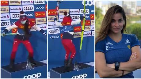 Russian skier Yulia Belorukova delighted fans with her podium dance. © Twitter @MatchTV / Instagram @yulia_belorukova