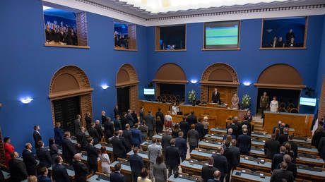 FILE PHOTO Estonian parliament © AFP / Raigo PAJULA