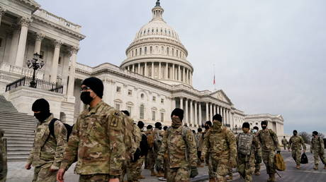 Members of the National Guard at the US Capitol in Washington, DC, on January 11, 2021