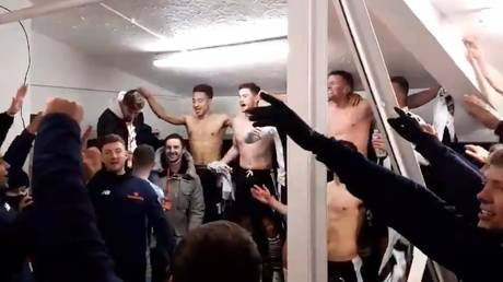 Players from non-league Chorley celebrate their win over Derby County. © Twitter @chorleyfc