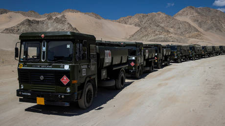 FILE PHOTO. Indian military tankers carrying fuel move towards forward areas in the Ladakh region.