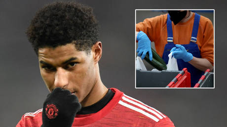 Manchester United forward Marcus Rashford has spoken about the UK government school meals parcels © Peter Powell / Reuters   © Hannah McKay / Reuters