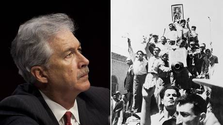 (L) Deputy Secretary of State William Burns © Getty Images / Drew Angerer; (R) A portrait of the Shah is carried triumphantly atop an Iranian Army tank patrolling the streets of Teheran after the coup that overthrew the regime of Premier Mohammed Mossadegh. © Getty Images / Bettmann