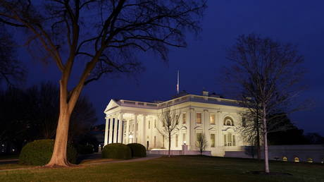 Nighttime descends upon the White House in Washington, U.S., January 11, 2021.