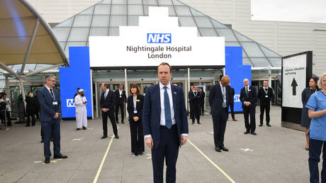 Health Secretary Matt Hancock at the opening of the NHS Nightingale Hospital in London, April 3, 2020