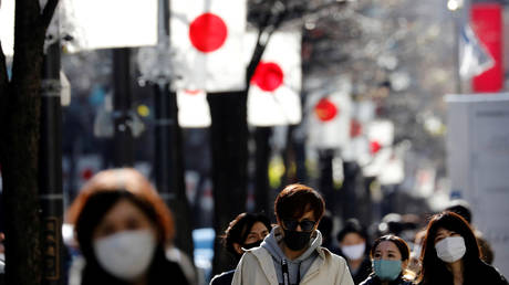 Pedestrians wearing protective masks, amid the coronavirus disease (COVID-19) outbreak, make their way at Ginza shopping district which closed to cars on Sunday in Tokyo, Japan, January 10, 2021.