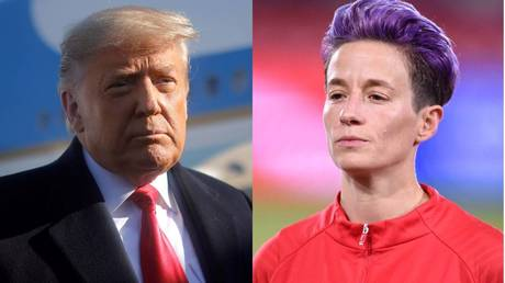 U.S. President Donald Trump © REUTERS / Carlos Barria | Megan Rapinoe © REUTERS / Kelvin Kuo