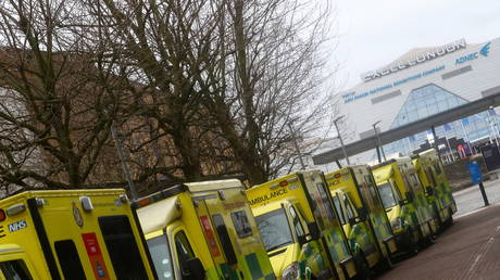 Ambulances are parked outside NHS Nightingale Hospital in London, Britain (FILE PHOTO) © REUTERS/Hannah McKay