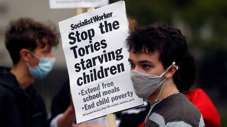 Protest demanding free school meals for children, in London