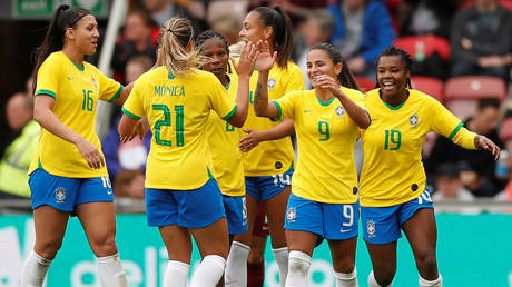 There was little joy for the Brazil women's football team as they lost 6-0 to Gremio in a training match © Lee Smith / Action Images via Reuters
